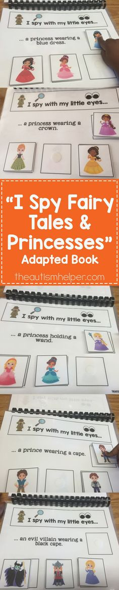 """Fancy dresses & crowns help students work on identification in Sarah the Speech Helper's fun new adapted book �I Spy Fairy Tales and Princesses."""" If you enjoyed her """"I Spy Vehicles,"""" you'll love this version available on the blog!! From theautismhelper.co"""