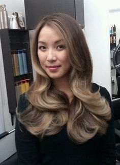 Balayage highlight on dark hair, this is gorgeous!
