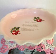 Vintage Cherry Pie Plate with recipe by Horsespatoot on Etsy, $13.50