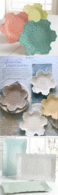 This Homemade Christmas Gift seems like it would be a lot of work, but it's really quite simple! These lace pottery dishes are made using craft porcelain, a clay-like material that requires no baking! Related Creative Ways to Use Those Fallen Le Homemade Christmas Gifts, Homemade Gifts, Christmas Crafts, Kid Made Christmas Gifts, Simple Christmas, Christmas Christmas, Christmas Presents, Handmade Christmas, Holiday Gifts
