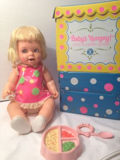 this doll was scary- she had brown eyelids when her eyes closed-----VINTAGE 1966 MATTEL BABYS HUNGRY DOLL CHAIR CARRY CASE ACCESSORIES in | eBay