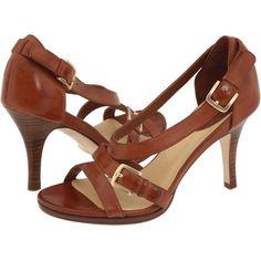 Cole Haan Carma Air Hi Sandal Cognac Brown Tan Open Toe 8 B Strappy Gold Buckle #ColeHaan #Sandals #any