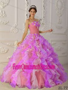 425c93ec94c Buy multi colored organza hand flowers quinceanera dress with ruffles from  fuchsia quinceanera dresses collection