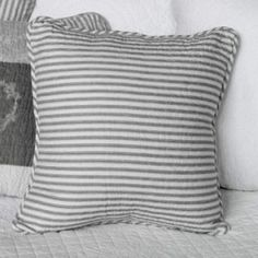 The very best of beautiful, French and Shabby Chic style interiors. Bed Pillows, Cushions, Striped Quilt, Shabby Chic Style, Grey Stripes, Cosy, Lamps, France, Interiors