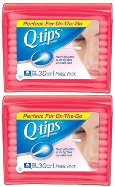 Q Tips Cotton Swabs 30 ct. Travel Size Purse ct 2 Pack