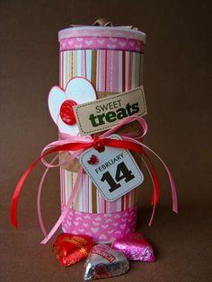 re-use empty drink mix container and turn it into a valentines day treat holder