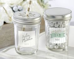Personalized Glass Mason Jar - Rustic Wedding Collection (Set of 12)