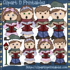 Christmas Carolers Brown- #Clipart #ResellableClipart #ResellerClipart #Christmas #Carolers #Music #StreetLight #Boys #Girls