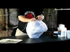 at 23:31 this guy is telling us the crusial part of making paper for the mache. No fabric ending, that makes the paper sticking out everywhere!!!! Thank you ▶ Getting started / Form building -- Part 1 of 8 - Paper Mache Pumpkin Head How-to - YouTube