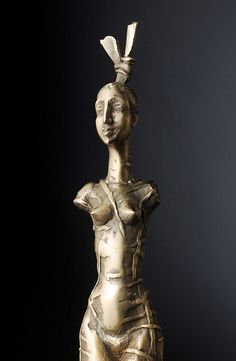 Small size bronze sculpture. Decorative woman figure. Lost wax casting. Figure is 135 mm height,wood base 107 mm. Nr 1 from 5 copies. Photos are by S.Didyk