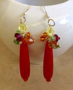 Colorful sea glass earrings-opaque Orange Beach by SeasideJewelry1