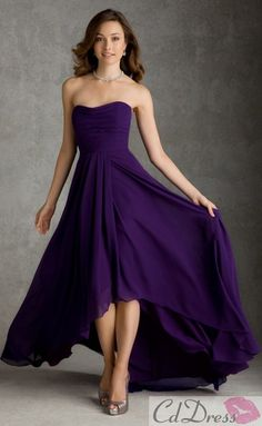 Pretty A-line Strapless Chiffon High Low Length Bridesmaid Dress SKU: BM000163-ML Under bridesmaid dresses