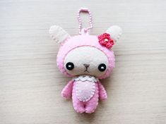 Felt  Valentine Gift  Bunny plush Keychain  felt by WELOVESTITCHES, $18.00