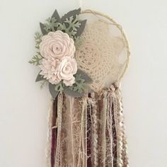 Felt flower dreamcatcher floral dreamcatcher felt flower