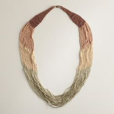 Beautiful blush and silver ombre necklace. Love the subtle earth tones all the way down to the silver seed beads.