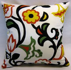 Cotton Decorative Pillow Cover 20 with orange yellow by LenkArt, $25.00