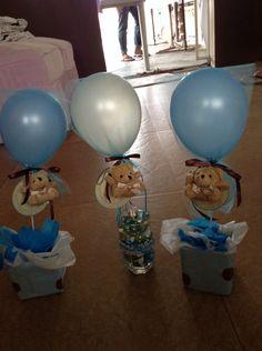 Cutie centerpiece for baby shower birthdays or Dedication blue balloons