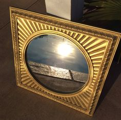 Vintage Large Circle Mirror with Gold Ornate by YellowHouseDecor