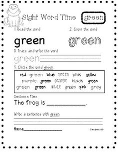 Color Sight Word Writing by Sara Dean Sight Word Worksheets, Sight Word Activities, Phonics Worksheets, Kindergarten Sight Words List, Kindergarten Language Arts, Site Words, Learning Sites, Teaching Colors, Sentence Writing