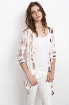 VELVET By Graham & Spencer Kristen 3/4 Sleeve Linen Tie Dye Open Cardigan S $138 #VelvetbyGrahamSpencer #Cardigan #Evening