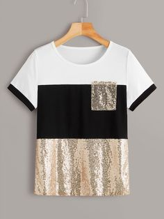 To find out about the Contrast Sequin Color-block Tee at SHEIN, part of our latest T-Shirts ready to shop online today! Sequin Fabric, T Shirts For Women, Clothes For Women, Lingerie Sleepwear, Casual Outfits, Tomboy Outfits, Emo Outfits, Dance Outfits, School Outfits