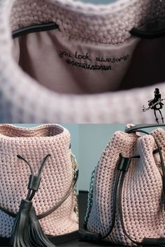 Crochet Bucket Bag ɕ powder pink bag ɕ summer clutch bag ɕ trendy bags ɕ pink bags ɕ pink bucket bag ɕ Boho bag ɕ boho purse ɕ Pink clutch