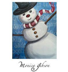 Snowman original acrylic painting 11x14 gallery by DotsArtShop, $49.00