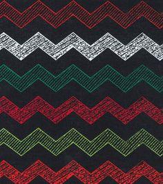 Noel Collection Fabric Noel Christmas Chevron Black