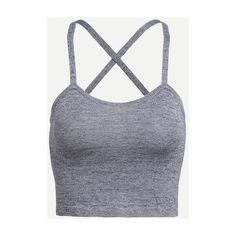 SheIn(sheinside) Grey Crisscross Back Cami Top ($8.99) ❤ liked on Polyvore featuring tops, shirts, crop tops, tank tops, grey, acrylic tank, grey crop top, spaghetti strap shirt, gray tank top and cropped cami