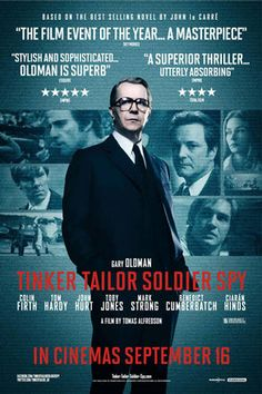 Directed by Tomas Alfredson. With Gary Oldman, Colin Firth, Tom Hardy, Mark Strong. In the bleak days of the Cold War, espionage veteran George Smiley (Gary Oldman) is forced from semi-retirement to uncover a Soviet Agent within Colin Firth, Gary Oldman, Benedict Cumberbatch, Tom Hardy, Great Films, Good Movies, Tinker Tailor Soldier Spy, Best Selling Novels, Taupe