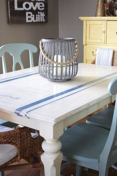 grain sack dining table, dining room ideas, home decor, painted furniture, rustic furniture Kitchen Table Redo, Dining Room Table Decor, Diy Table, Stenciled Dining Table, Painted Tables, Stencil Table Top, Painted Chairs, Dining Rooms, Rustic Furniture