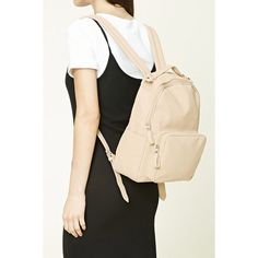 Forever21 Faux Leather Backpack ($30) ❤ liked on Polyvore featuring bags, backpacks, cream, faux leather backpack, forever 21, daypack bag, vegan bags and fake leather bags