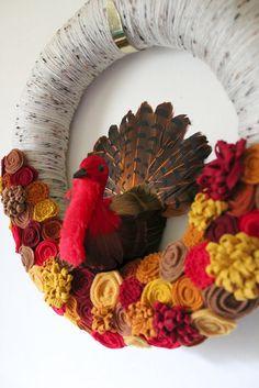 Felt Turkey wreath #thanksgiving