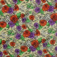 Rosy Vines Red Nylon Spandex Knit Fabric :: $7.50