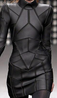 Geometric Fashion - black on black dress with stitched shape segments - futuristic suit; structured fashion details // Gareth Pugh Fashion leather articles at 60 % wholesale discount prices Gareth Pugh, Dark Fashion, Leather Fashion, Fashion Fashion, Fashion Ideas, Ankara Fashion, Classy Fashion, Runway Fashion, Fashion Tips