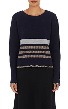 Chloé Striped Wool-Cashmere Sweater