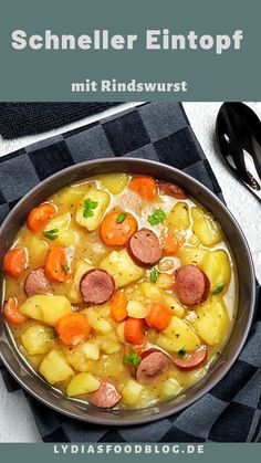 Potato and carrot stew with beef sausage, as the name suggests, a . - Suppen Rezepte - Potato and carrot stew with beef sausage, as the name suggests, a hearty stew for cold autumn and w - A Food, Good Food, Food And Drink, Yummy Food, Soup Recipes, Dinner Recipes, Cooking Recipes, Healthy Recipes, Quick Recipes