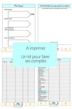 A kit to make your accounts, to print for free! – 1000 ideas to make at home - Saving Money Planner Organisation, Organization Bullet Journal, Budget Organization, Mon Budget, Faire Son Budget, Kit, Weekly Log, Family Command Center, Burn Out