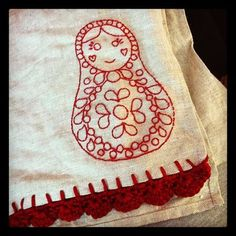 embroidered and crochet tea towel #crochet #embroidery