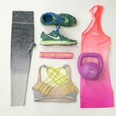 Fitness Fun || #lululemon #nike #mindymaesmarket #fila #ombre #workout #fitness #flatlay #outfit #summer #cute