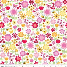 Ladybug Garden, (Main in White) at Bloomerie Fabrics