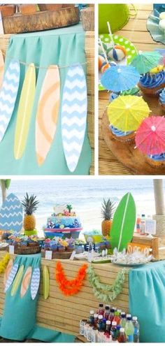 Kids Beach Theme Party Ideas – Hip Hoo-Rae If you want a Kids Beach Theme Party then we have some awesome ideas to make yours kids party the coolest party ever. Kids Beach Party, Beach Party Games, Beach Kids, Beach Party Decor, Luau Birthday, Birthday Party Themes, Kids Party Themes, Themed Parties, Ideas Party