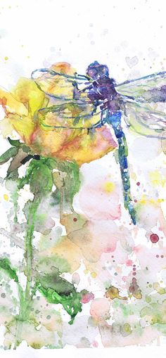 Dragonfly Art Insect Print Abstract Watercolor Flowers Painting, dragonfly Gifts, Watercolour, Wall art, dragonfly print, Botanical art A reproduction of