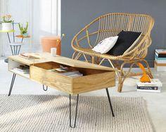 Table basse vintage bois et métal TWIST, canapé rotin - Maisons du Monde