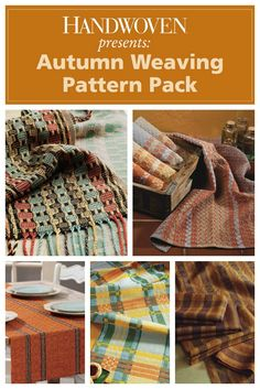 Fall into weaving fun with 5 weaving projects for 4- and 8-shaft looms. Includes 3 runners, a scarf, and a towel set.