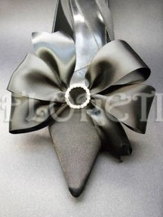 Sassy Black Satin Bow Shoe Clips Swarovski Rhinestones | Floreti - Accessories on ArtFire. $30.78.
