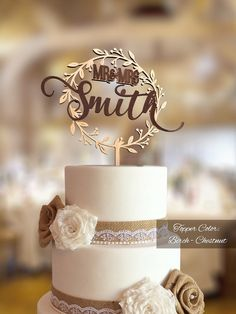 Please pay attention to the delivery time. Rustic Wedding Cake Topper with personalized surname. Made from natural wood perfect topper for any rustic wedding cake. Makes a wonderful memento of your wedding day, too. This beautiful rustic wedding cake topper is the perfect accessories for your wedding cake to make it special and will be a cherished keepsake from your special day.  ▬▬▬▬▬▬▬ MANUFACTURE ▬▬▬▬▬▬▬ In despite of not expensive cost of my cake toppers - I made them with really serious…