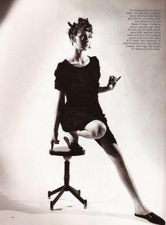 Yohji Yamamoto: Maggie Rizer shot by Mario Sorrenti for Harper's Bazaar February 1998 | Fashion Editor Melanie Ward | Hair Recine | Make-up Dick Page.