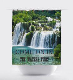 wataerfall shower curtains,Bathroom shower curtains, bathroom curtain,curtains,oceans, bathroom decor,ocean curtains, tropical waterfalls. by BigWaveClothingCo on Etsy