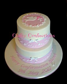 confirmation cake dove and fondant band
